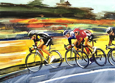 Sports Paintings - Racing Le Tour by Shirley Peters