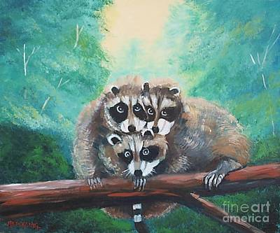 Painting - Racoons by Jean Pierre Bergoeing