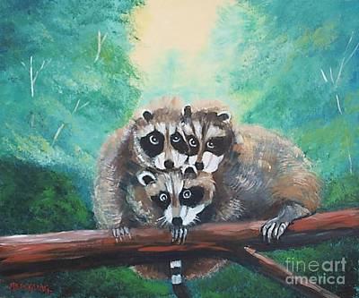 Painting - Racoons by Jean Pierre Bergoeing