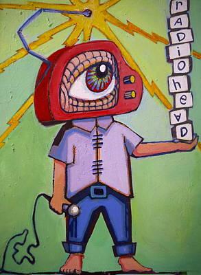 Radio Head Man Art Print by Erica Shaw