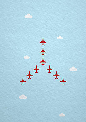 Royalty-Free and Rights-Managed Images - RAF Red Arrows in formation by Samuel Whitton