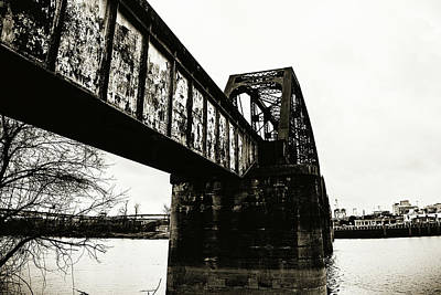 Photograph - Railroad Over The Red River - Sepia Toned by Scott Pellegrin