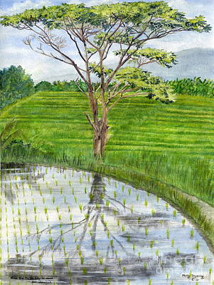 Painting - Rain Tree On The Way To Ubud Bali Indonesia by Melly Terpening