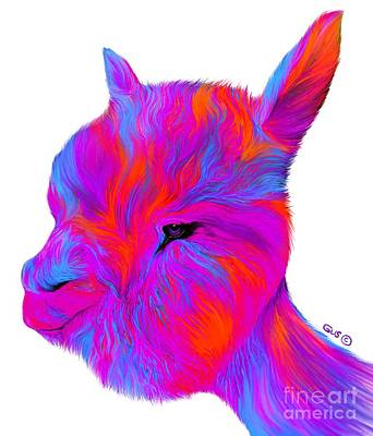 Digital Art - Rainbow Alpaca by Nick Gustafson