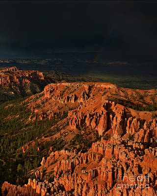 Photograph - Rainbow And Thunderstorm Bryce Canyon National Park Utah  by Dave Welling