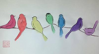 Rainbow Birds Art Print