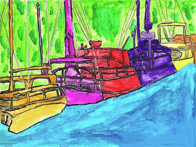 Wall Art - Painting - Rainbow Boats by Brandon Drucker