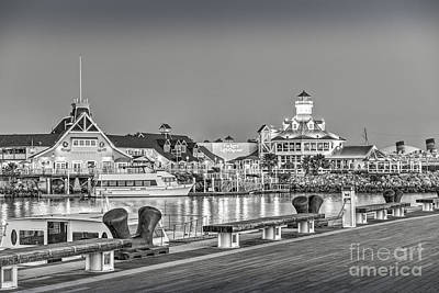Photograph - Rainbow Marina Shoreline Village Bw by David Zanzinger