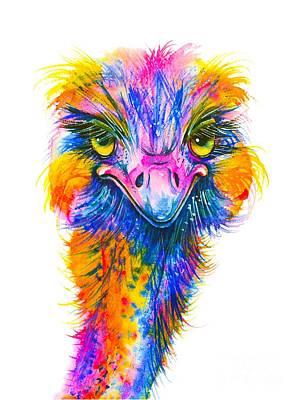 Painting - Rainbow Ostrich  by Zaira Dzhaubaeva