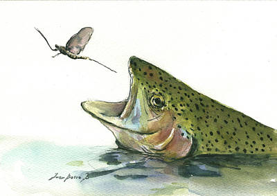 Trout Painting - Rainbow Trout by Juan Bosco