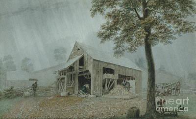 Rainstorm, Cider Mill At Redding, Connecticut Art Print
