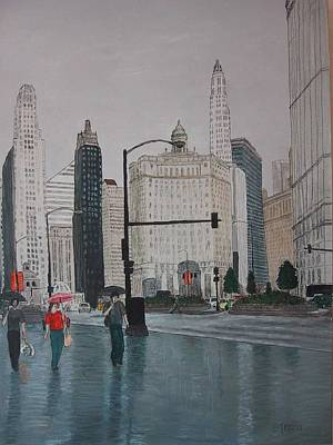 Rainy Day Drawing - Rainy Day Chicago by Jacob Stempky