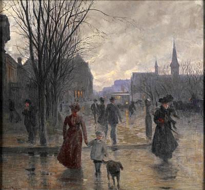 Rainy Evening On Hennepin Avenue Painting - Rainy Evening On Hennepin Avenue by Robert Koehler