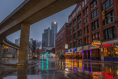 Rainy Night In Detroit  Art Print