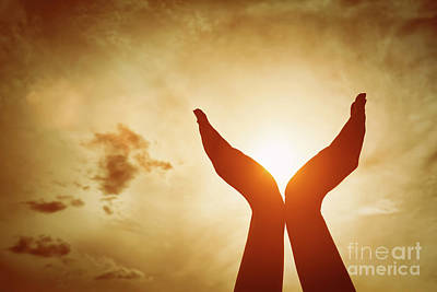 Gesture Photograph - Raised Hands Catching Sun On Sunset Sky. Concept Of Spirituality, Wellbeing, Positive Energy by Michal Bednarek
