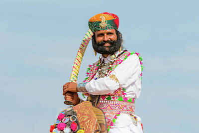 Photograph - Rajasthani Man With Sword by Nila Newsom