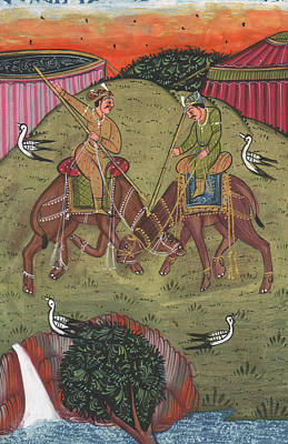 Antique Miniature Painting - Rajput King Handmade Painting Drawing Fighting Camel, Miniature Painting Of India by A K Mundra