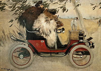 Ramon Painting - Ramon Casas And Pere Romeu In An Automobile by Ramon Casas