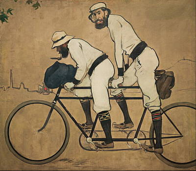 Spanish Art Painting - Ramon Casas And Pere Romeu On A Tandem by Ramon Casas