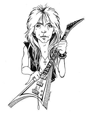 Randy Rhoads Caricature Art Print