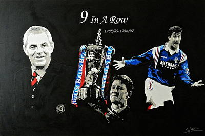 Rangers 9 In A Row  Art Print by Scott Strachan