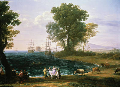 Zeus Painting - Rape Of Europa by Claude Lorrain