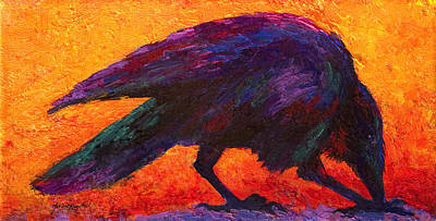 Crow Painting - Raven by Marion Rose