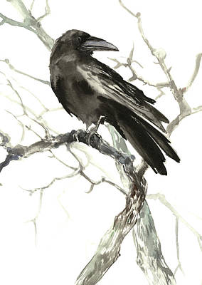 Painting - Raven On The Tree by Suren Nersisyan