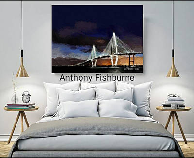 Mixed Media - Ravenel Bridge Charleston Sc by Anthony Fishburne