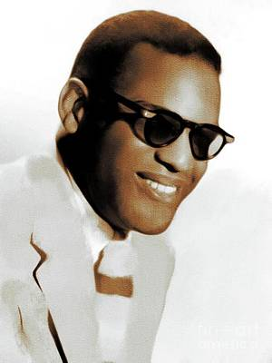 Music Royalty-Free and Rights-Managed Images - Ray Charles, Music Legend by Mary Bassett