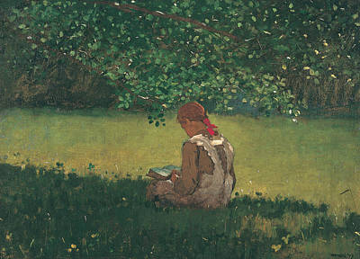 Winslow Homer Painting - Reading By The Brook by Winslow Homer
