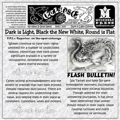 Drawing - Real Fake News Flash Bulletin by Dawn Sperry