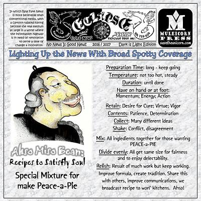 Drawing - Real Fake News Recipe Column by Dawn Sperry