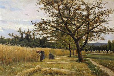 Painting - Reaping by Joaquim Vayreda