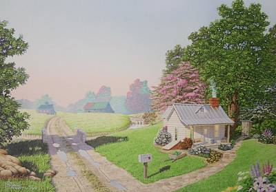 Painting - Rebeccas Cottage by C Robert Follett