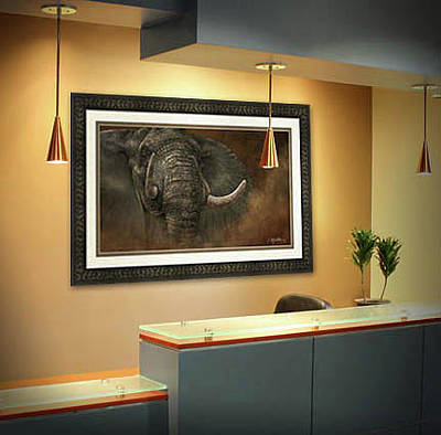 Photograph - Reception Area - Charging Elephant by Kathie Miller