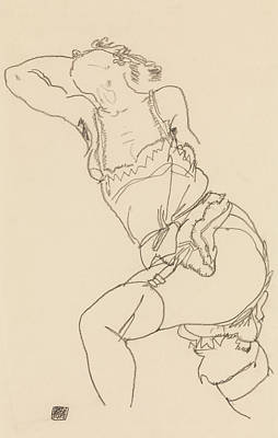 Drawing - Reclining Model In Chemise And Stockings by Egon Schiele