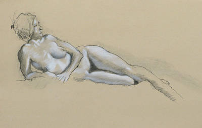Female Drawings Drawing - Reclining Nude 2 by Robert Bissett