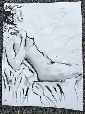 Drawing - Reclining Nude by Elizabeth Parashis