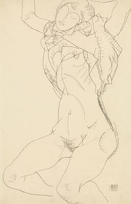 Drawing - Reclining Semi-nude With Arms Raised by Egon Schiele