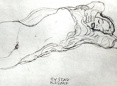 Nipple Drawing - Reclining Woman by Gustav Klimt