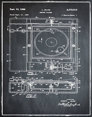 Sepia Chalk Photograph - Record Player Patent 1966 Chalk by Bill Cannon