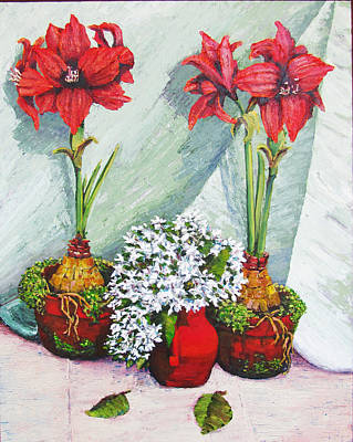 Painting - Red Amaryllis With Shooting Star Hydrangea by Thomas Michael Meddaugh