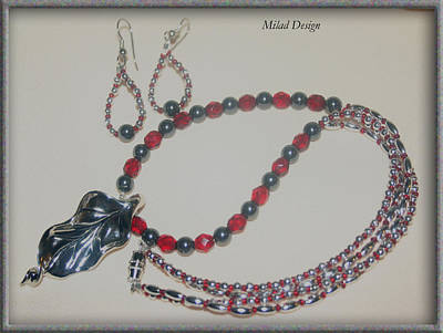 Delica Beads Jewelry - Red And Black by Mila Drutel