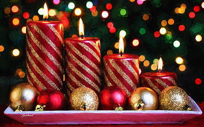 Red And Gold Christmas Candles And Bulbs Art Print