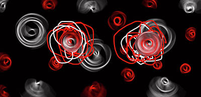 Digital Art - Red And Silver Roses For Her Big Day by Sir Josef - Social Critic -  Maha Art