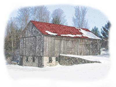 Red Barn In Winter Print by Kat Wauters