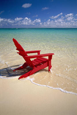 Photograph - Red Beach Chair by Dana Edmunds - Printscapes