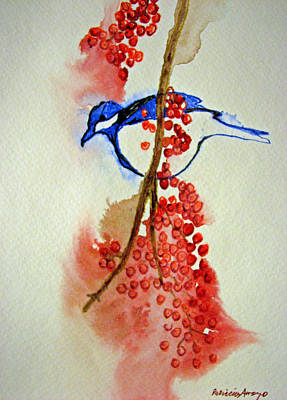 Red Berry Blue Bird Art Print by Patricia Arroyo