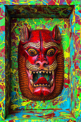 Red Cat Mask Print by Garry Gay